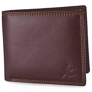 hornbull mens brown stella genuine leather rfid blocking wallet