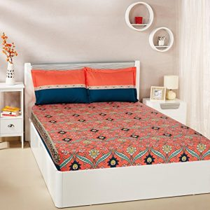 amazon brand solimo imperial trail 144 tc 100 cotton double bedsheet with
