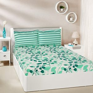 amazon brand solimo leafy spring 144 tc 100 cotton double bedsheet with 2