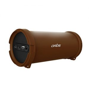 artis bt99 wireless portable bluetooth speaker with usb fm aux in brown