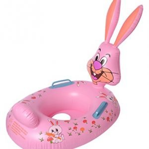 ez life inflatable bunny swimming ring float for kids multi colour