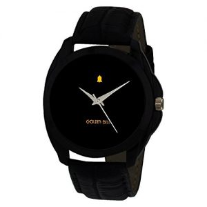 golden bell original black dial black strap analog tick watch 2 for men