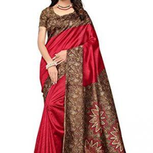 ishin art silk blended mysore silk red printed womens sareesari with tassels