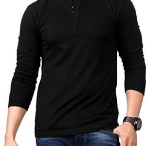 style shell mens henley full sleeve cotton t shirt black medium