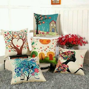 aerohaven set of 5 multi colored decorative hand made cotton cushion covers