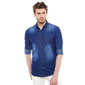 dennis lingo mens denim dark blue solid casual shirt c502darkbluem