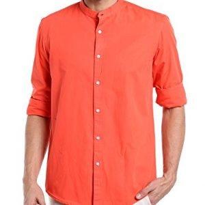 dennis lingo mens solid chinese collar orange casual shirtcc201orangel
