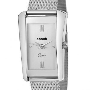 epoch analogue square silver dial metal strap watches for women and