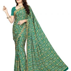 rani saahiba womens crepe georgette saree with blouse piece
