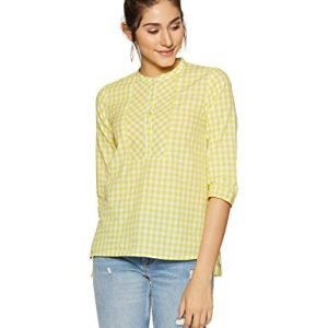stylevillein womens checkered regular fit top stsf401615 yellow xxl