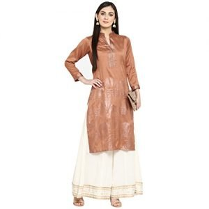 ziyaa womens brown color straight polysilk foil print kurtazikups2200 s