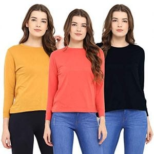 chkokko full sleeve cotton casual round neck tshirts for women combo pack of