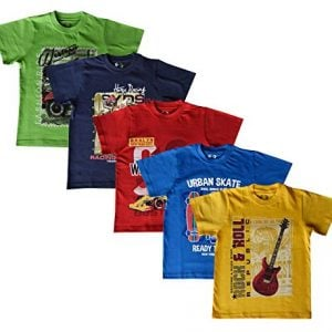 elk boys kids round neck printed half sleeve cotton tshirt red yellow blue 5