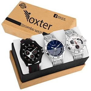 foxter quartz movement analogue display multicoloured dial mens