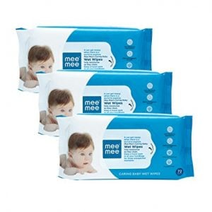 mee mee caring baby wet wipes with aloe vera 72 pcspack pack of 3