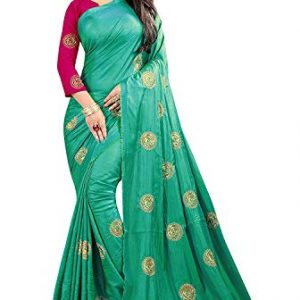 eyesonme womens paper silk saree with blouse piece firozi