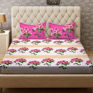 bombay dyeing cynthia 120 tc polycotton double bedsheet with 2 pillow covers