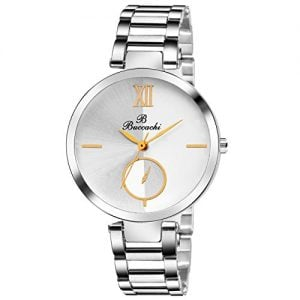 buccachi analogue white round dial watch for womens b l1044 wt ch