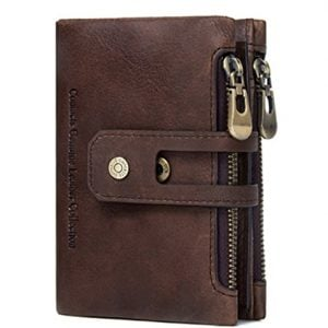 contacts leather brown rfid blocking mens wallet