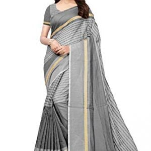 indira designer womens cotton saree with blouse piece free size grey