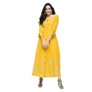 stylum womens casual animal pirnted a line yellow cotton kurti