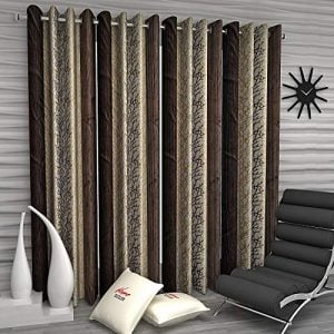 home sizzler abstract 4 piece eyelet polyester door curtain set 7ft brown