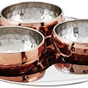 amazon brand solimo stainless steel bowl set with tray 4 pieces copper 1