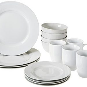 amazonbasics 16 piece dinnerware set round white