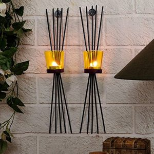 collectible india iron black wall sconce glass cup candle holder set of 2