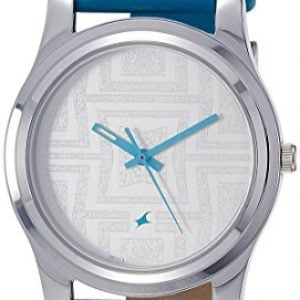 fastrack analog silver dial womens watch nk6046sl04 1