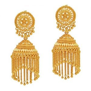 memoir designer gold plated faux kundan designed jhalar jhuumki earrings for 1