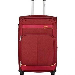 safari polyester 65 cms red softsided suitcase maasaimara 4 wheel trolley 65 1