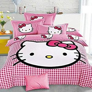 singhs mart attractive skin friendly hello kitty king size 100 cotton double