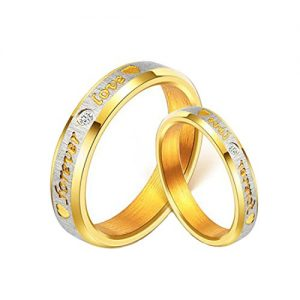 yellow chimes love forever 18k gold plated proposal couple rings for girls