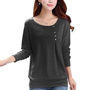 freshtrend anthra black melange full sleeve round neck tshirt for women