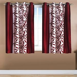 home candy leave 2 piece polyester window curtain set 5ft maroon