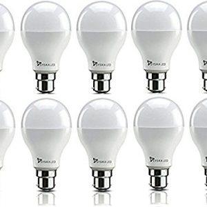syska srl base b22 9 watt led bulb pack of 10 cool white