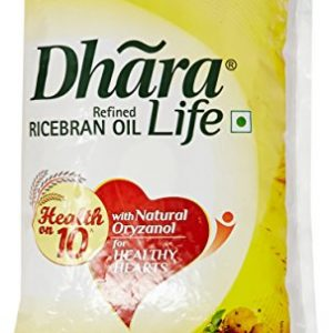 dhara life refined ricebran oil pouch 1l