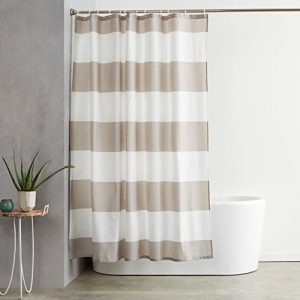 amazonbasics water repellant shower curtain with hooks 72 x 72 gray stripe