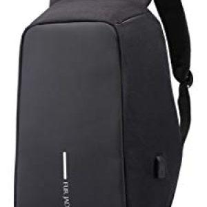 fur jaden 15 ltrs black anti theft waterproof backpack with usb charging port