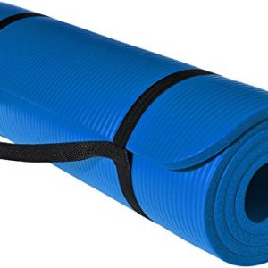 amazonbasics 13mm extra thick yoga and exercise mat with carrying strap blue