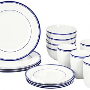 amazonbasics 16 piece cafe stripe dinnerware set blue
