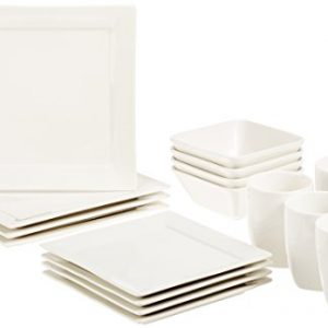 amazonbasics 16 piece premium dinnerware set square classic white