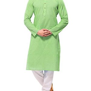 himashu handlooms mens cotton long kurta green39