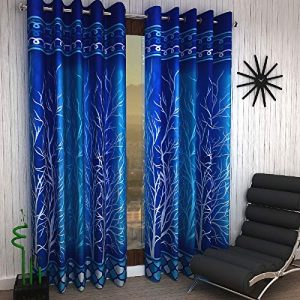 home sizzler 2 piece eyelet polyester door curtain set 7ft blue