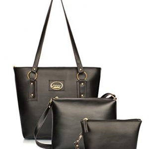 mammon womens black handbag sling bag and clutch combo set of 3