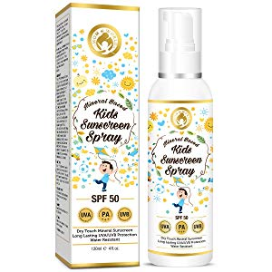 mom world mineral based kids sunscreen spray spf 50 water resistant
