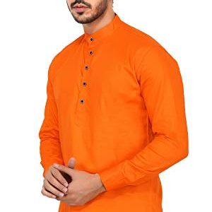 u turn mens cotton short kurta orange large