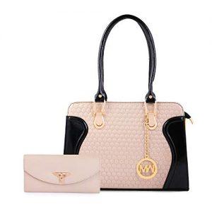 women marks womens handbag and wallet black cream combo of 2
